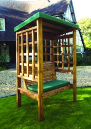 Charles Taylor Bramham Two Seat Arbour with Green Roof Cover - FSC Redwood