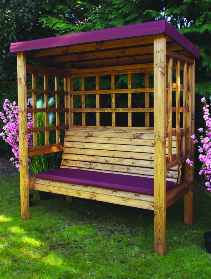 Charles Taylor Bramham Three Seat Arbour with Burgundy Roof Cover - FSC Redwood