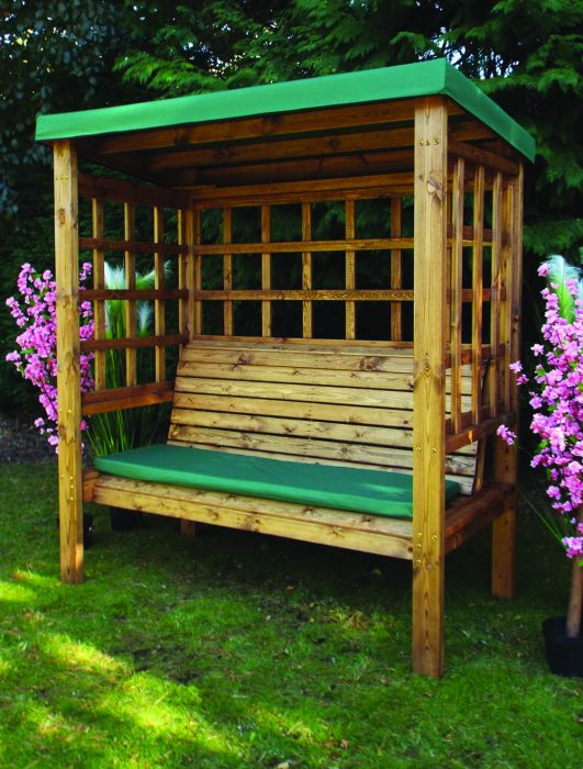 Charles Taylor Bramham Three Seat Arbour with Green Roof Cover - FSC Redwood
