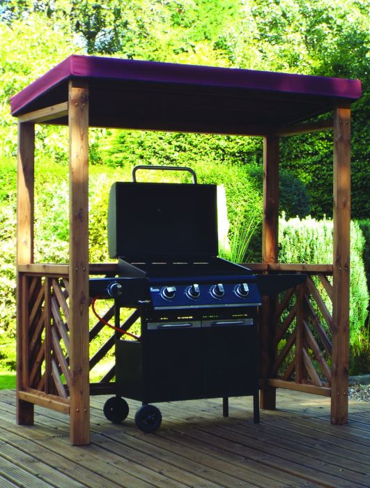 Charles Taylor Dorchester BBQ Shelter with Burgundy Roof Cover - FSC Redwood