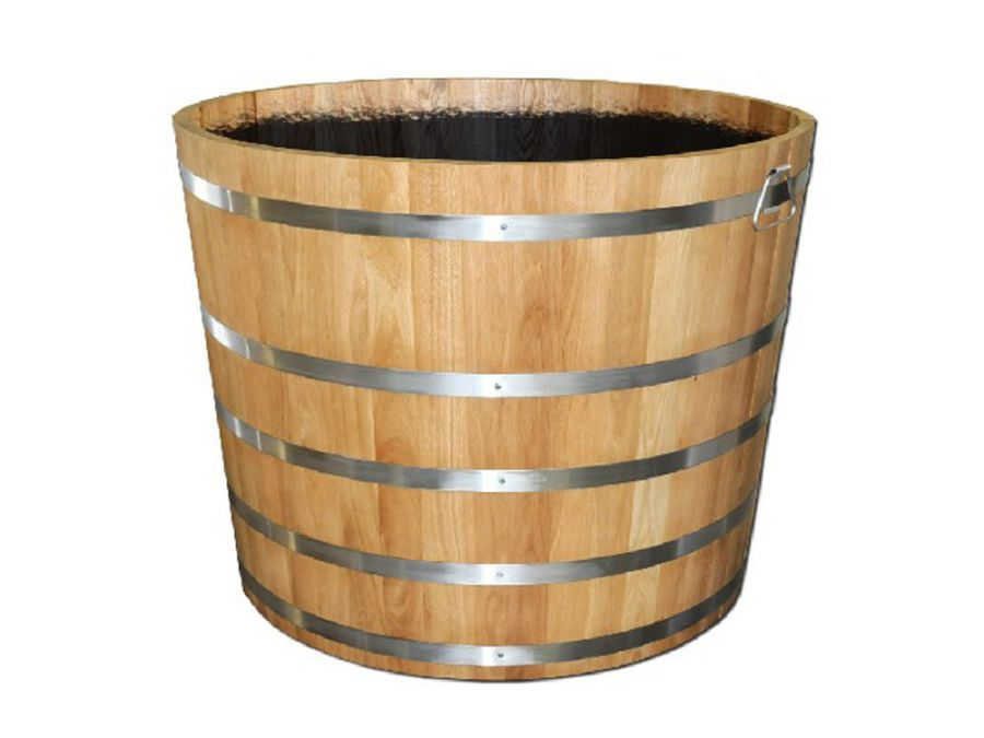 80cm Oak Barrel Wooden Planter By Adezz