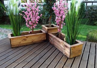 Three Piece Corner Planter Set FSC Redwood by Charles Taylor