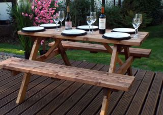 Charles Taylor Deluxe Four Seater Picnic Table - FSC Redwood