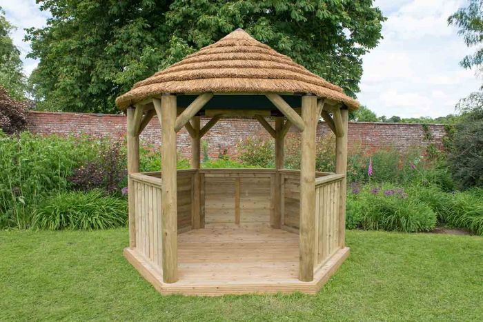 10ft (3m) Hexagonal Wooden Garden Gazebo with Thatched Roof - Green Lining