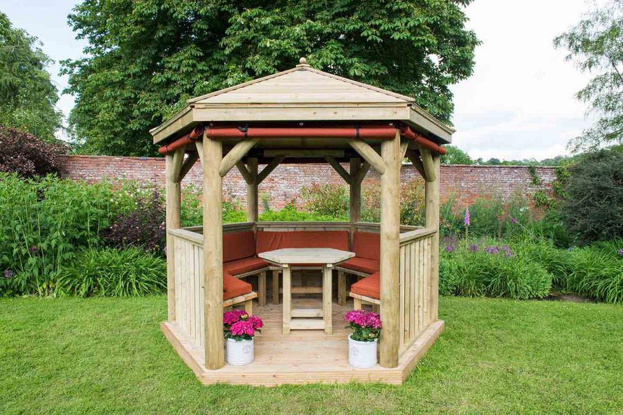 10ft (3m) Hexagonal Wooden Garden Gazebo with Timber Roof - Furnished with Table, Benches and Cushions (Green)