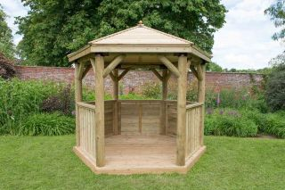 10ft (3m) Hexagonal Wooden Garden Gazebo with Timber Roof
