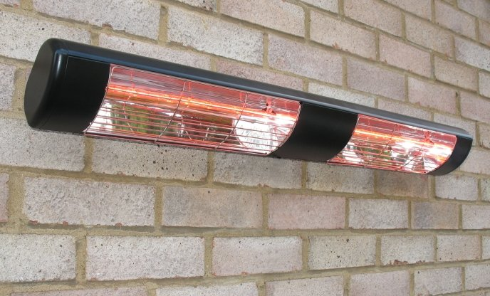 3kW Black Dual Wall Mounted Quartz Halogen Bulb Electric Infrared Patio Heater - Weatherproof IP55