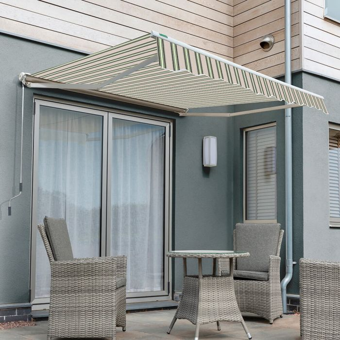 3.0m Half Cassette Manual Awning, Multi Stripe