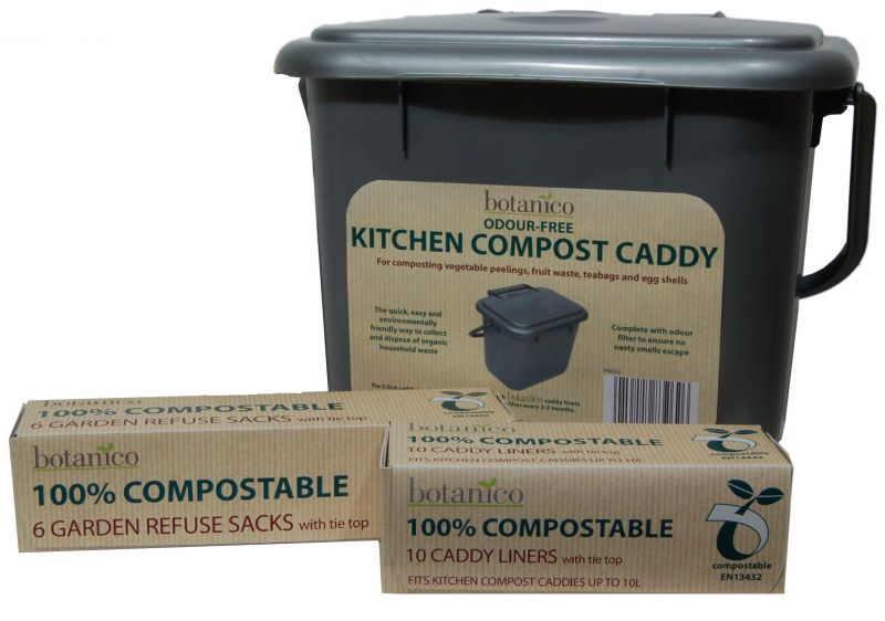 5L Kitchen Compost Caddy, and Biodegradable Refuse Sacks for your compost bin