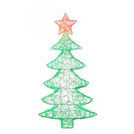 74cm Light Up Christmas Tree Wall Decoration with Green and Red LED's