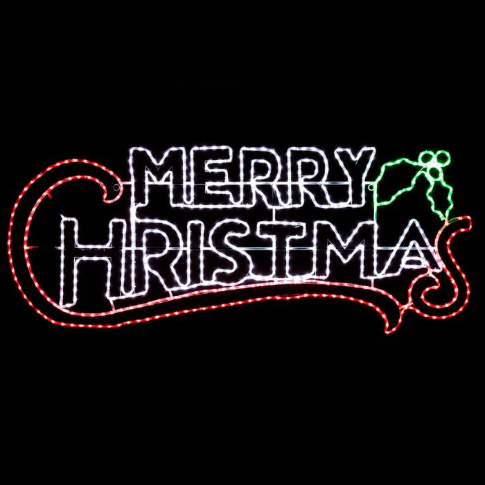 Large Merry Christmas Light Up Rope Sign