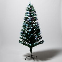 6ft (1.8m) Green Artificial Christmas Tree With Multi Coloured Fibre Optics
