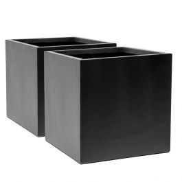 30cm Fibrecotta Dark Grey Cube Pot – Set of 2