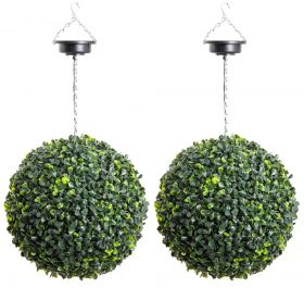 Pair of 28cm Solar Powered LED Artificial Topiary Ball By Primrose™ - 'The Little Buxus Ball'