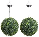 Pair of 28cm Solar Powered LED Artificial Topiary Ball By Primrose® - 'The Little Buxus Ball'
