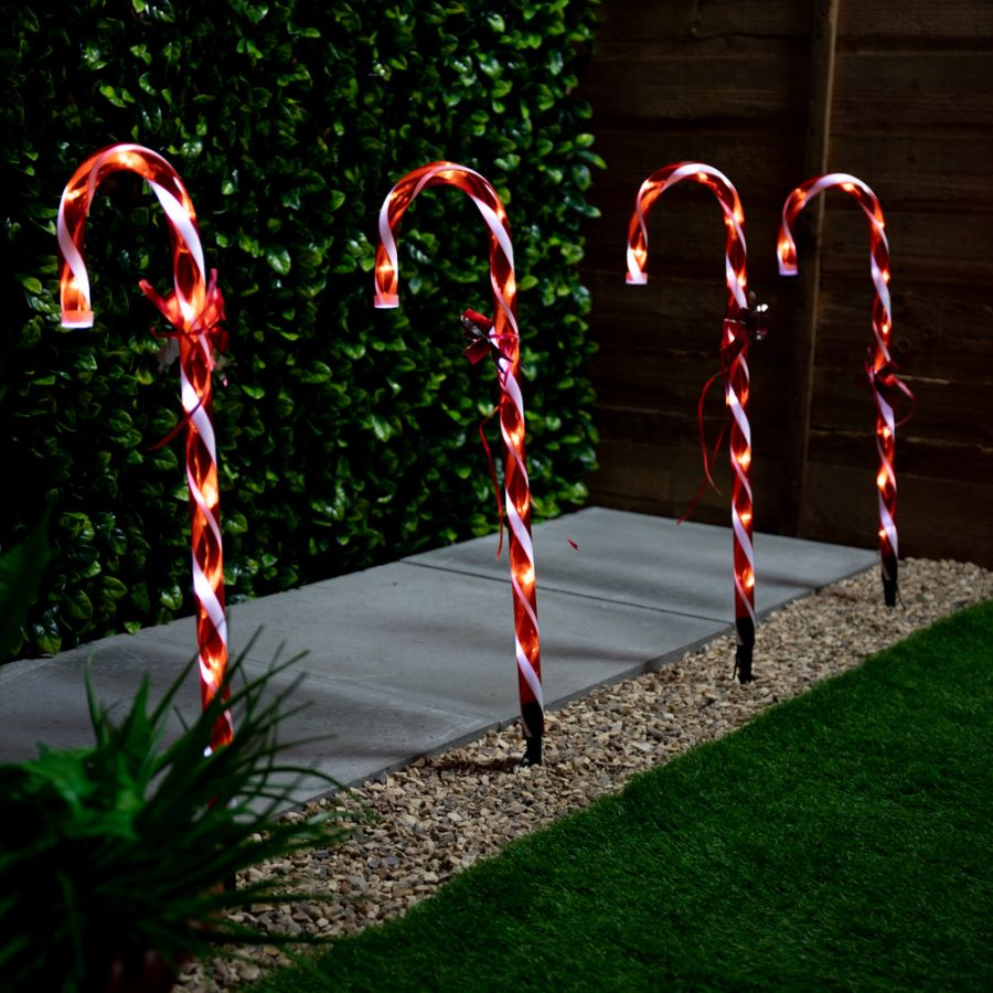 60cm Set of Four Christmas Candy Canes with White Lights