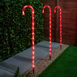 1m Set of Three Christmas Candy Canes with Red Lights
