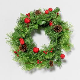40cm Berry Bristle Christmas Wreath in Box
