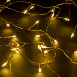 80 Warm White LED Battery Operated Dewdrop Cluster Fairy Lights