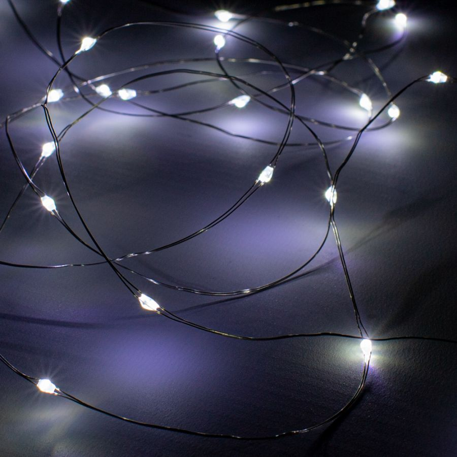 25 White LED Battery Operated Dewdrop Fairy Lights