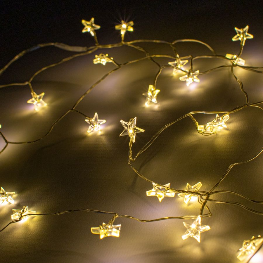 40 Warm White LED Battery Operated Star Cluster Fairy Lights