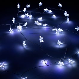 80 White LED Battery Operated Star Dewdrop Cluster Fairy Lights