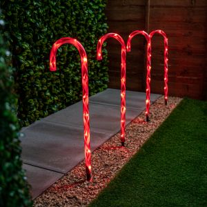 62cm Set of Four Christmas Candy Canes with Red Lights