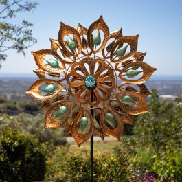 Peacock Eyes Wind Spinner in Copper Dia 61cm by Primrose™