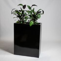 80cm Black Gloss Polystone High Trough Planter