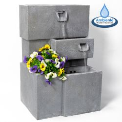Higgledy Troughs Water Feature and Planter with Lights H78cm by Ambienté™