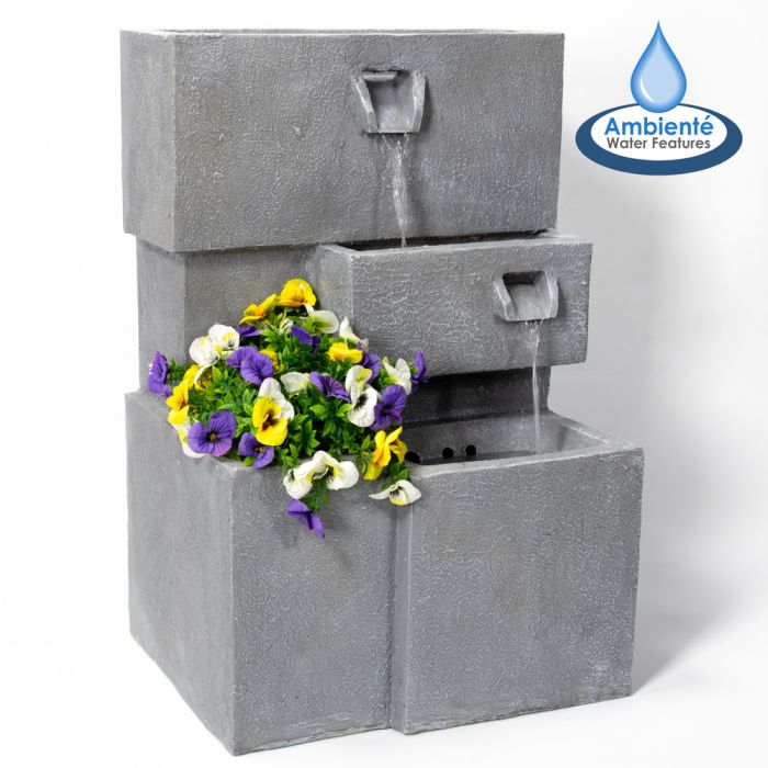H78cm Higgledy Troughs Water Feature & Planter with Lights | Indoor/Outdoor Use by Ambienté