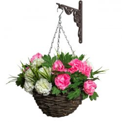 Large Peony Deluxe Artificial Hanging Basket by Primrose™ (30cm)