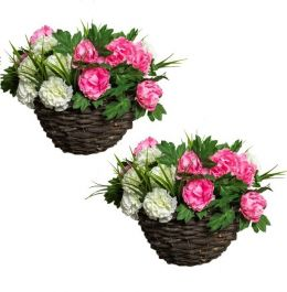Pair of Large Peony Deluxe Artificial Hanging Baskets by Primrose™ (30cm)