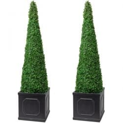 140cm Artificial Topiary Trees by Primrose™ - 'The XL Buxus Obelisk'