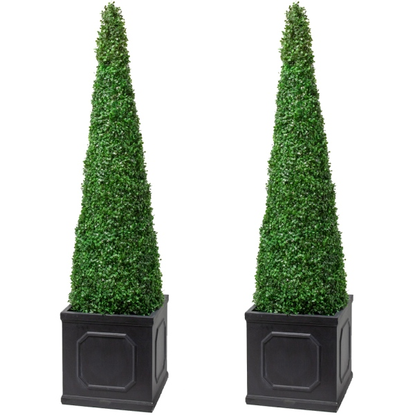 Pair of 140cm Artificial Topiary Trees by Primrose™ - 'The XL Buxus Obelisk'