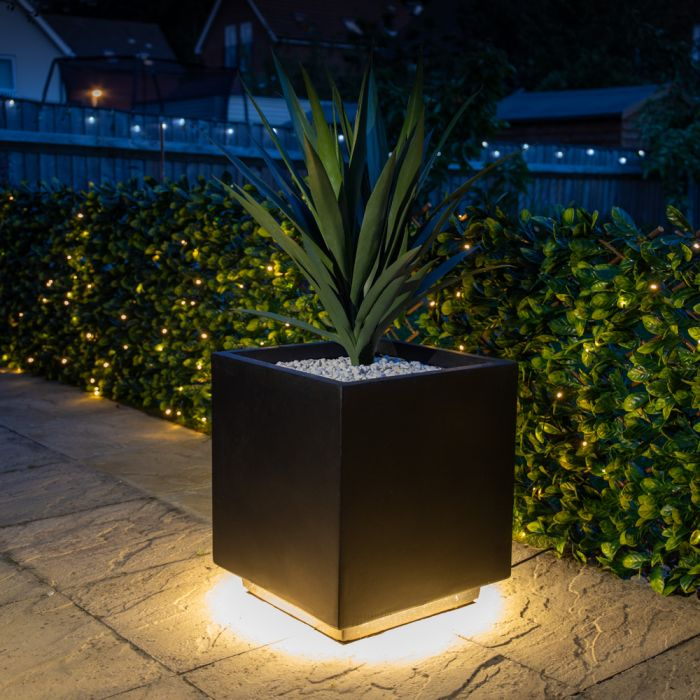 45cm Black Fibrecotta Cube Planter with LED Lights