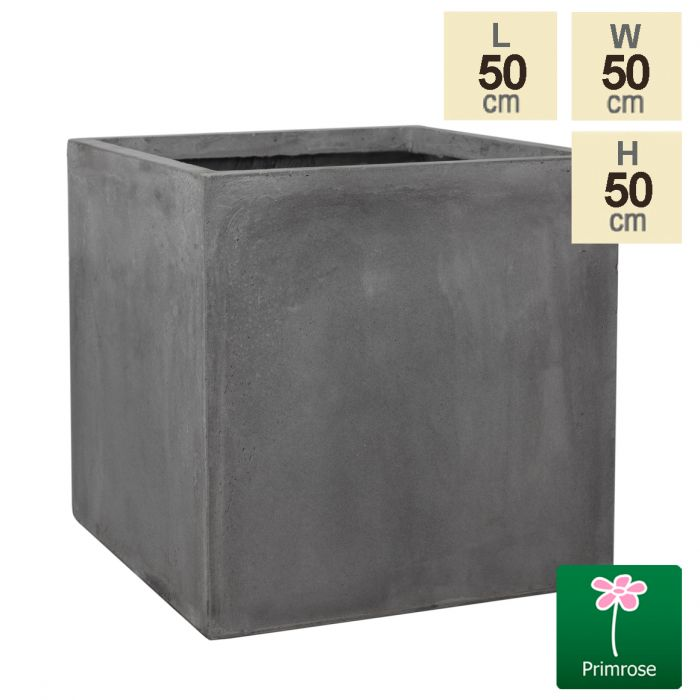 50cm Fibrecotta XL Cement Finish Cube Planter