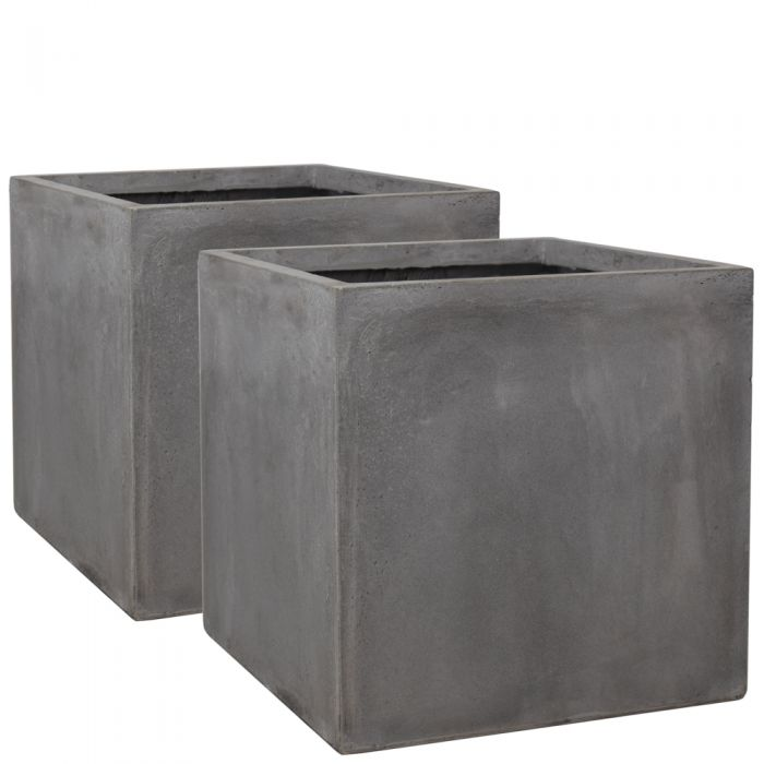 50cm Fibrecotta Cement Finish Cube Planters - Set of 2