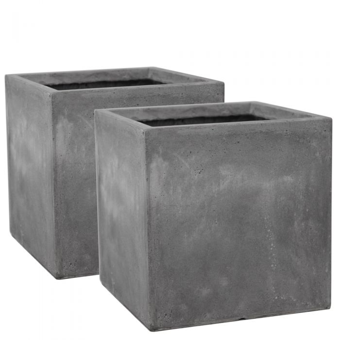 40cm Fibrecotta Cement Finish Cube Planter - Set of 2