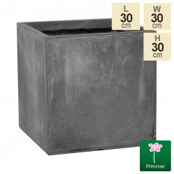 30cm Fibrecotta Medium Cement Cube Pot
