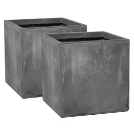 30cm Fibrecotta Cement Finish Cube Pot - Set of 2