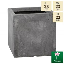 23cm Fibrecotta Small Cement Finish Cube Pot