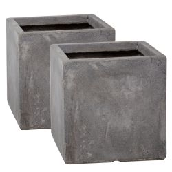 23cm Fibrecotta Cement Finish Cube Pot - Set of 2