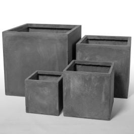 Cement Finish Fibrecotta Cube Planters - Mixed Set of 4 - H25/30/40/50cm