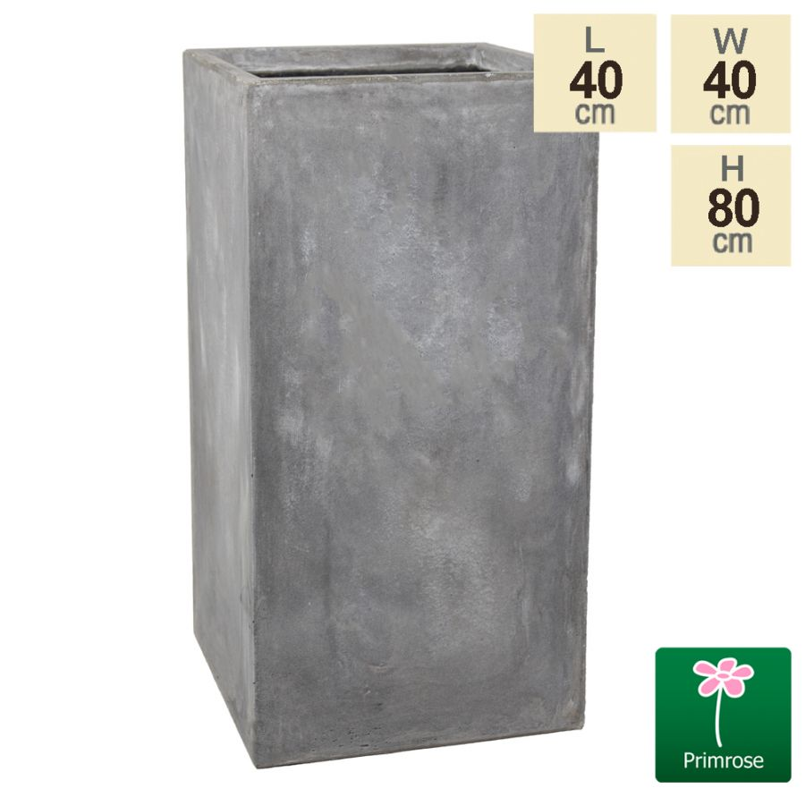80cm Fibrecotta Cement Finish Tall Cube Planter