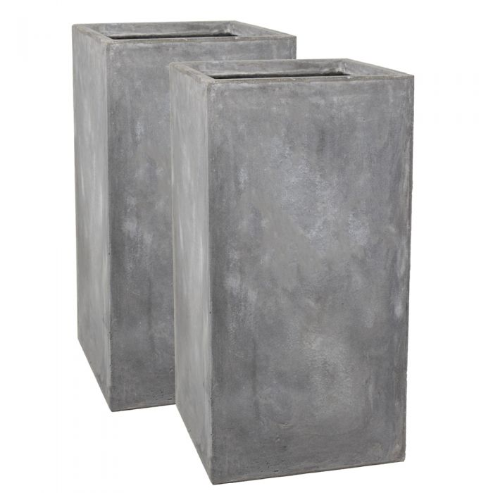 80cm Fibrecotta Cement Finish Tall Cube Planter - Set of 2