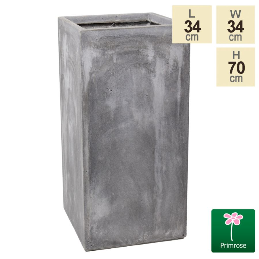 70cm Fibrecotta Cement Finish Tall Cube Planter