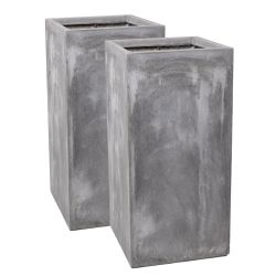 70cm Fibrecotta Cement Finish Tall Cube Planter - Set of 2