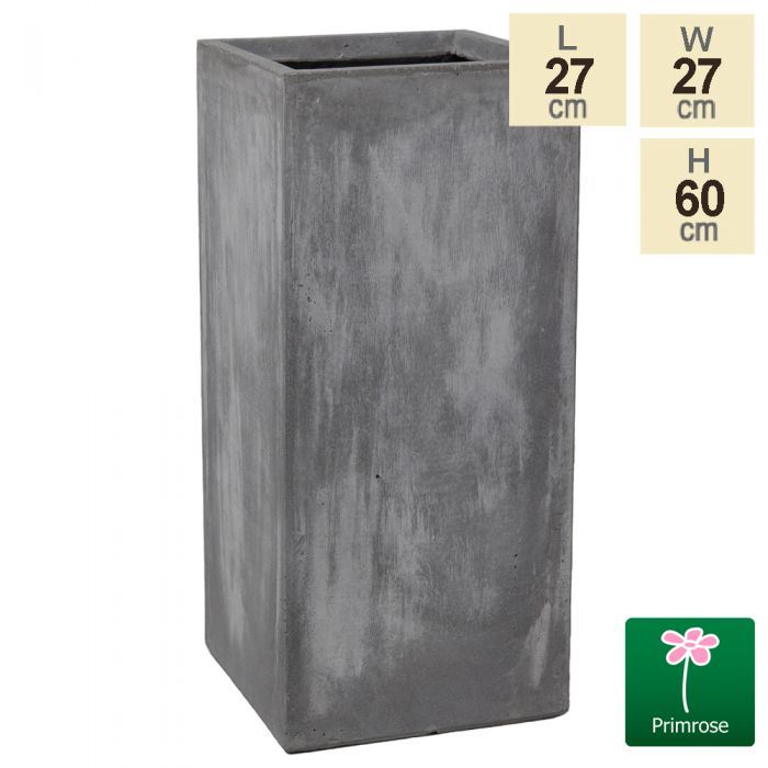 60cm Fibrecotta Cement Finish Tall Cube Planter
