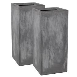 60cm Fibrecotta Cement Finish Tall Cube Planter - Set of 2